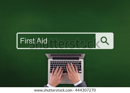 PEOPLE COMMUNICATION HEALTHCARE  FIRST AID TECHNOLOGY SEARCHING CONCEPT - stock photo