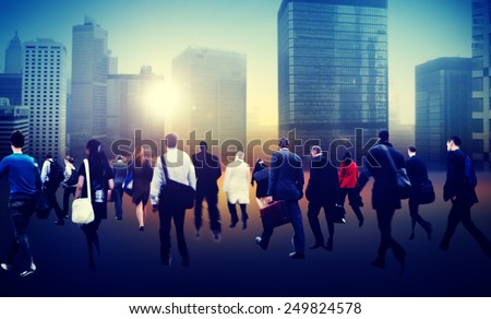 People Commuter Walking Rush Hour Cityscape Concept - stock photo