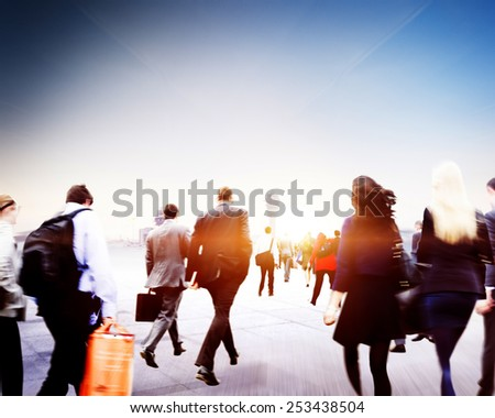 People Commuter Walking Rush Hour Traveling Concept - stock photo