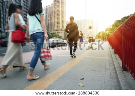 People Commuters City Walking Pedestrian Concept - stock photo