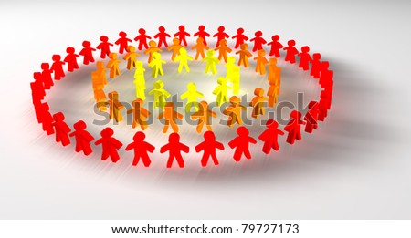 People concept of union with characters in red, yellow and orange - stock photo