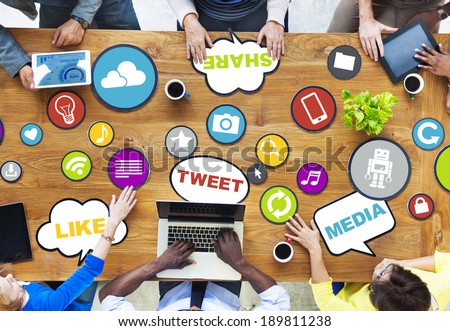 People Connecting and Sharing Social Media - stock photo