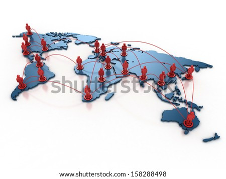 people connecting over the world 3d concept - stock photo