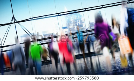 People Consumer Shopping Commuter Consumerism Crowded Concept - stock photo