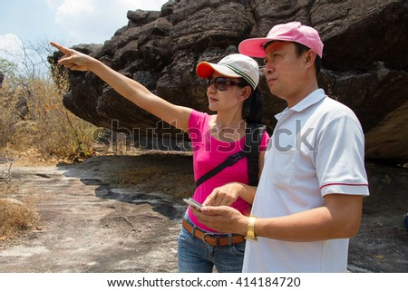 People couple tourists adventure leisure in summer - stock photo