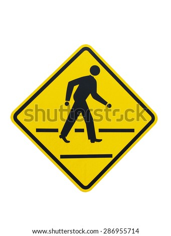 People crossing the road sign on isolated white - stock photo