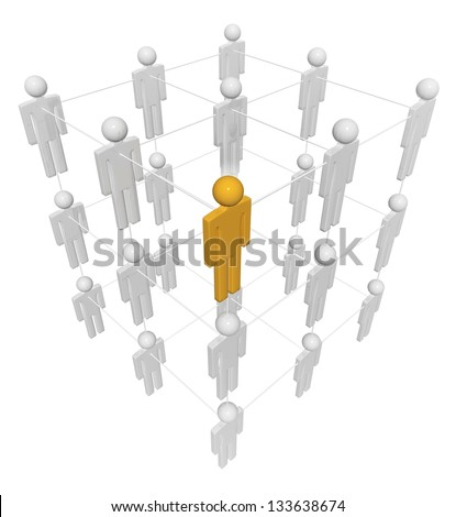 People Crystal abstract structure, isolated on white, clipping path