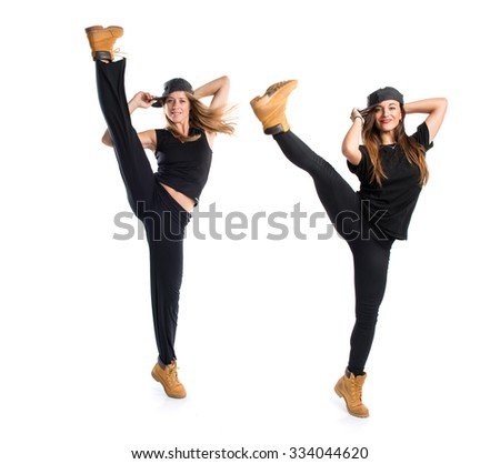 People dancing street dance - stock photo