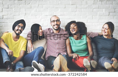 People Diversity Friends Friendship Happiness Concept - stock photo