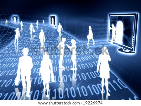 people doing business activity in virtual world of internet. - stock photo