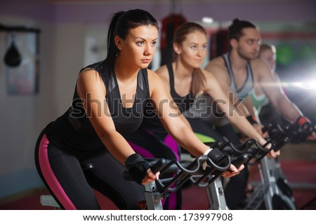 Group Fit People Cycling Fitness Club Stock Photo 359504291