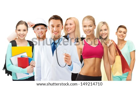 people, education and profession concept - many people or different professionals - stock photo
