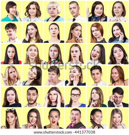 People expressing different emotions - stock photo