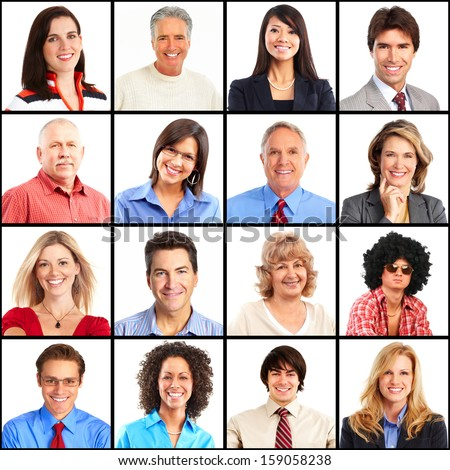 People faces collage. Man and woman portrait isolated. - stock photo