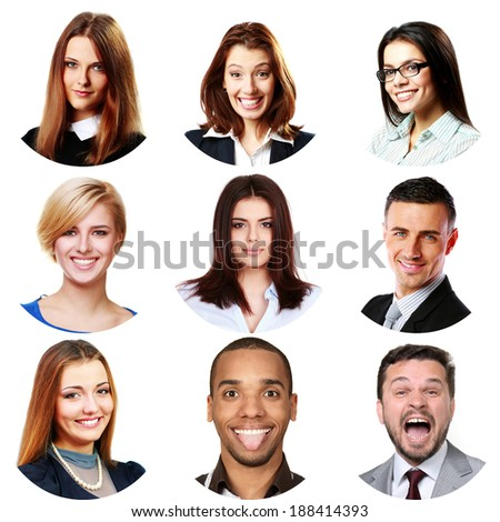 People faces collage. Men and women portraits isolated.