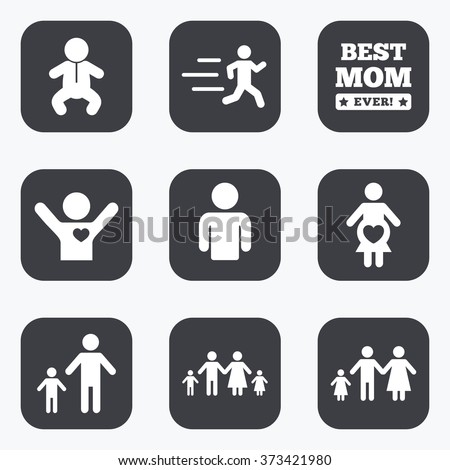 People, family icons. Maternity, person and baby signs. Best mom, father and mother symbols. Flat square buttons with rounded corners.