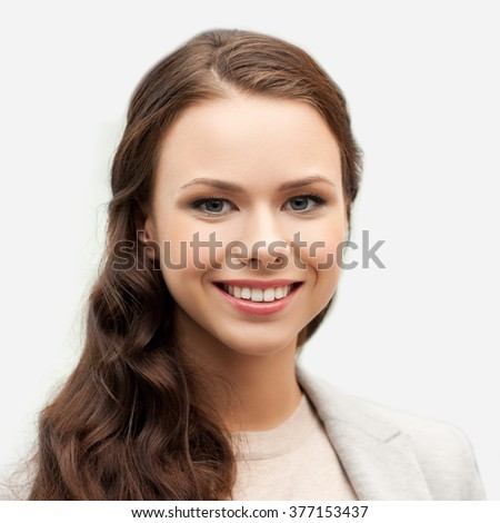 people, female, business and portrait concept - happy smiling young woman face