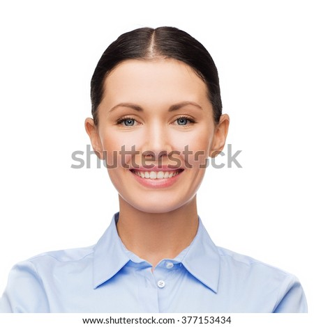 people, female, business e and portrait concept - happy smiling young woman face - stock photo