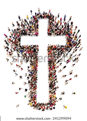 People finding Christianity, religion and faith. Large crowd of people walking to and forming the shape of a cross on a white background with room for text or copy space in the cross. - stock photo