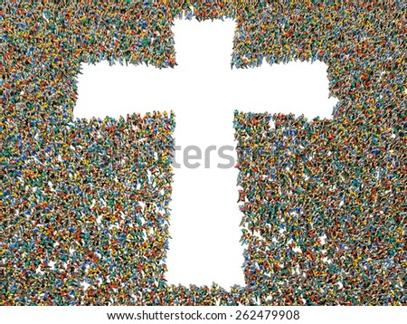 People finding Christianity, religion and faith. Large crowd of people walking to and forming the shape of a cross  - stock photo