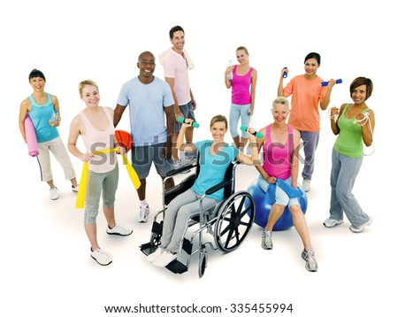 People Fitness Gym Exercise Healthy Concept - stock photo