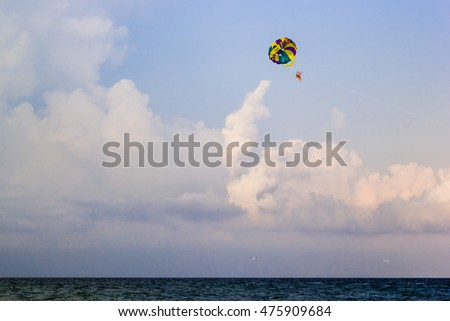People fly on a parachute over the sea on a sunny summer day.