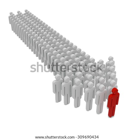 People form up in arrow isolated on white  - stock photo