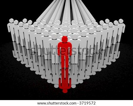 People form up in arrow reflected on floor - isolated - stock photo