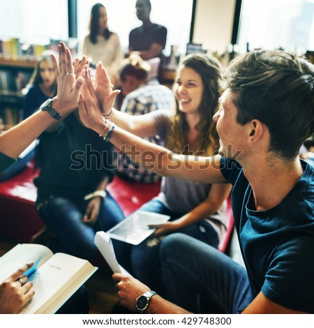 People Friendship Brainstorming Hand Clasped Teamwork Concept - stock photo