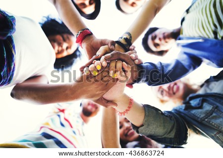 People Friendship Brainstorming Hand Teamwork Concept - stock photo