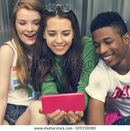 People Friendship Togetherness Mobile Phone Selfie Concept
