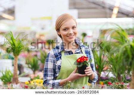 people, gardening and profession concept - happy woman or gardener holding flowers in greenhouse - stock photo