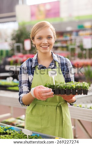 people, gardening and profession concept - happy woman or gardener holding seedling in greenhouse - stock photo