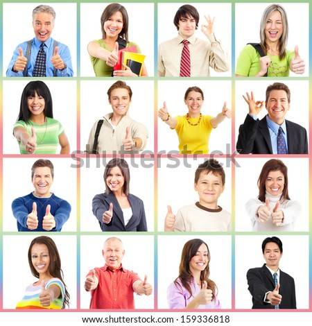 People gesture collage. Man and woman portrait isolated. - stock photo