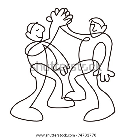 people give me five sketch in black line isolated on white background - stock photo