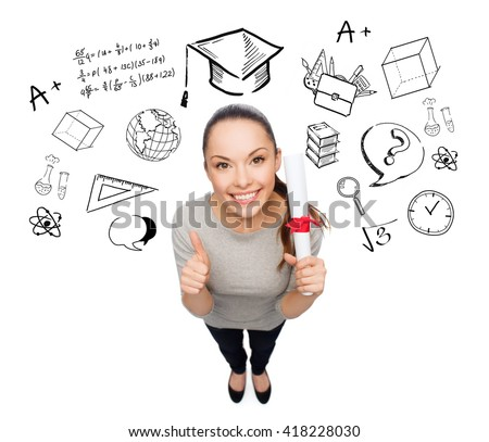 people, graduation, school and education concept - smiling asian woman with diploma showing thumbs up over doodles - stock photo