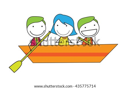 People group at boat - stock photo
