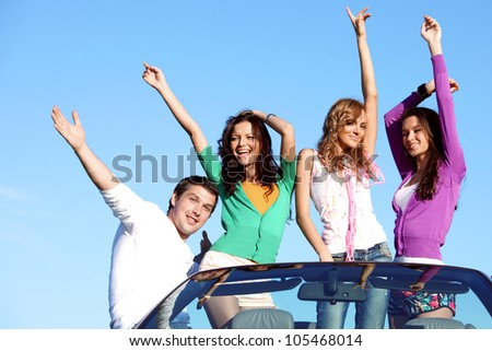 people group  fun  in cabriolet - stock photo