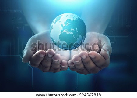 People hand holding floating earth on dark digital background. Earth hour concept.
