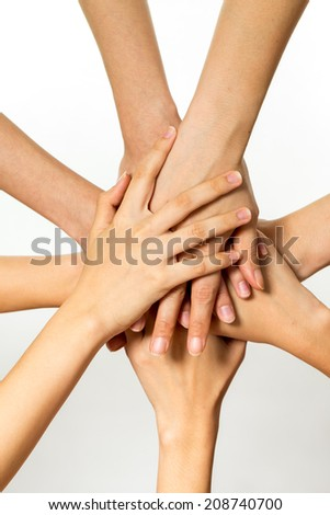 people hands showing the success of teamwork - stock photo