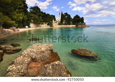 people have fun on beach at summer vacation - stock photo