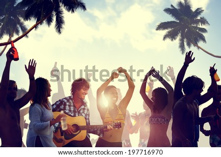 People Having a Party by the Beach