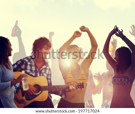 People Having a Party by the Beach - stock photo