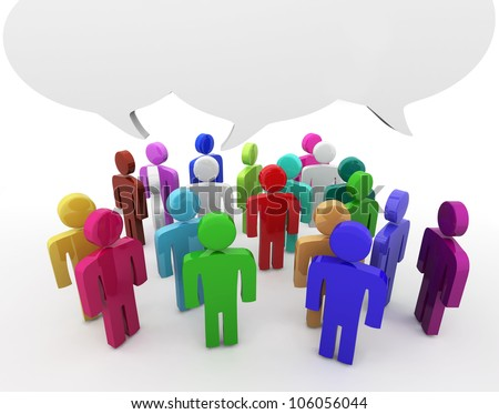 People having discussion, blank speech bubbles. Many colors version - stock photo