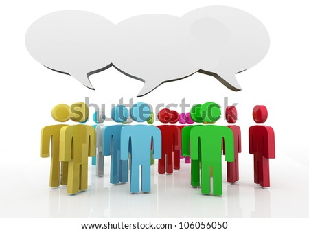 People having discussion, blank speech bubbles. Many colors version