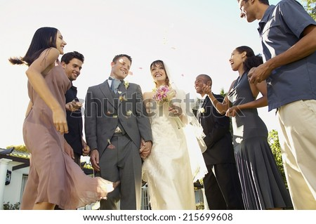 people having fun at wedding party. well dressed - stock photo