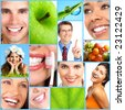 People, health, diet, healthy nutrition, food,  fruits,  dental care, teeth, dentist, medical doctor - stock photo