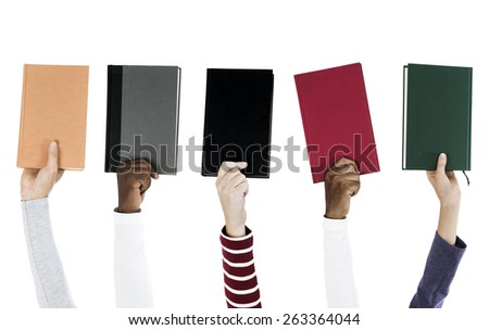People holding assorted books isolated on white - stock photo