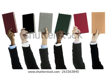 People holding books on white background - stock photo