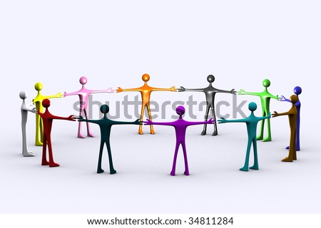 people holding hands, abstract people in a circle, lots of people together, teamwork, group of people icon - stock photo